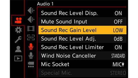 Уровень усиления записи звука